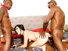 Black boy and his cousins gangbang the nasty slut Cece Stone