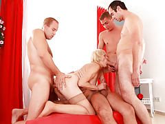Four bored boys elect to orgy a blonde grandmother.