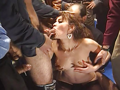 Horny Cunt Enjoy Engulfing Many Cocks During Orgy Session