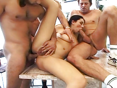 Naughty chicito gets roughed up in hardcore groupie with 4 guys